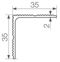 Gamrat Обробний кутик 35 х 35 х 3600 мм срібний