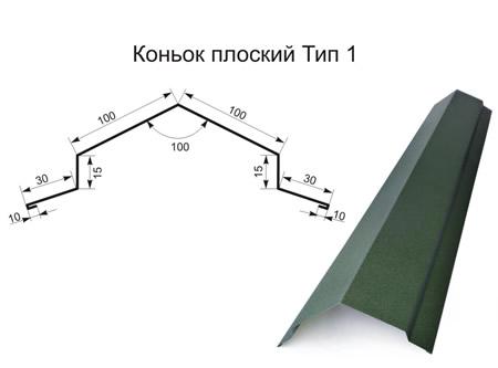 Коньок прямий (плоский) тип 1 матполіестер 0,45 мм
