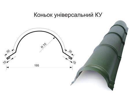 Коньок півкруглий (універсальний) матполіестер 0,45 мм